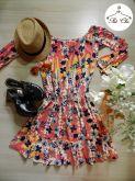 Vestido Estampado [ Flores | Coral ] – Elástico na cintura