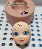 Kit combo rosto doll + 30 pares olhos res 527 -P