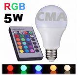 Lâmpada Bulbo Led Rgb 5w E27 Bivolt Colorida Controle Remoto