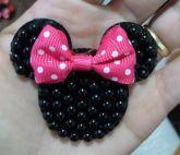Minie Pequena preta com laço Rosa(Par)
