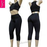 Conjunto  fitness preto GG(46)  Top Cropped e Corsário sem bolsos