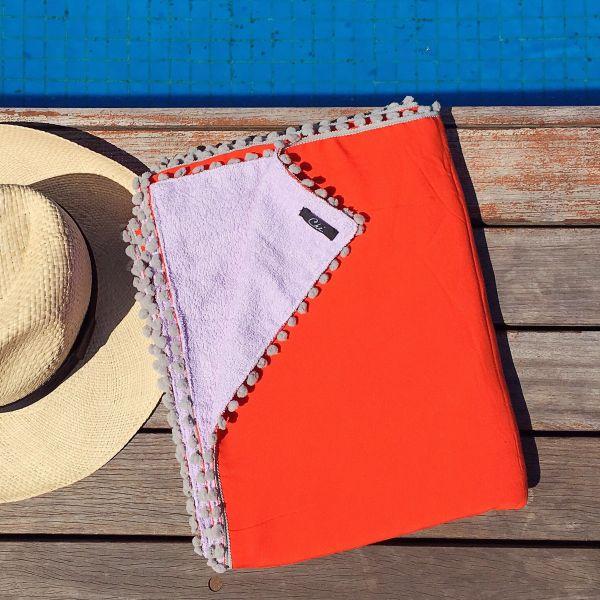 8e613127f0fb Canga Toalha Lisa Laranja / Lilas com cinza - Ché. Store Beach Style