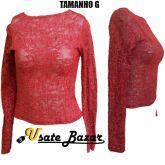 Blusa(G) Renda Vermelha Com Elastano