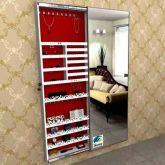 Armário Porta Joia Colar e Brinco Com Porta De Espelho Em Moldura De Aluminio