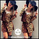 Vestido Animal Print / Onça com Guipir
