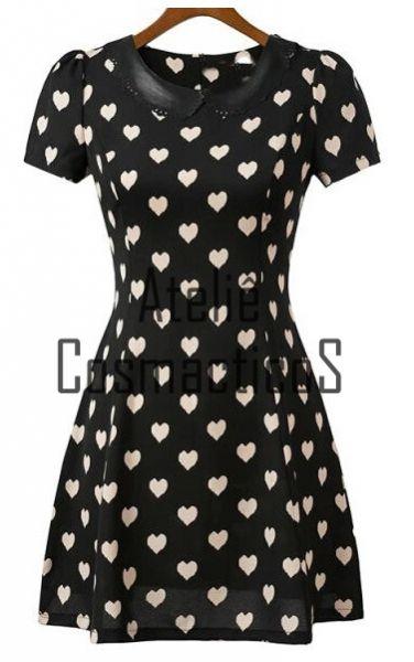Vestido Print Hearts com Gola em Couro