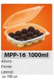 MPP-16 EMBALAGEM PP FREEZER MICROONDAS TAMPA ARTICULADA 1000 ML C/ 100 UN.