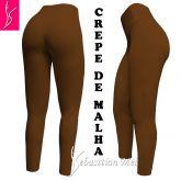 Legging caramelo GG(46) em crepe de malha, cintura alta,gramatura média/alta