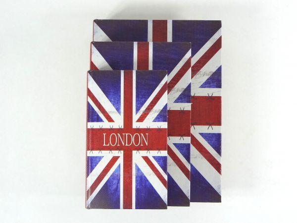 Caixa Livro Decorativo London - 3 Peças MDF