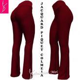 calça flare ou reta(64/66)vermelho, tecido jacquard piquet colmeia