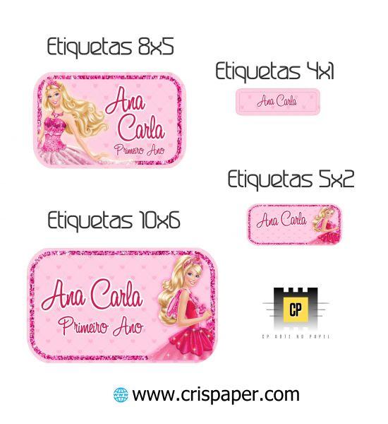 Kit Etiqueta Escolar Barbie Cris Paper Arte No Papel