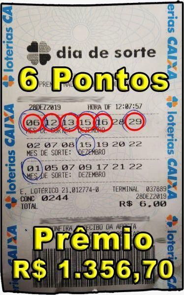 DIA DE SORTE, aposte com 15 números 6 ou 7 pontos 100%.