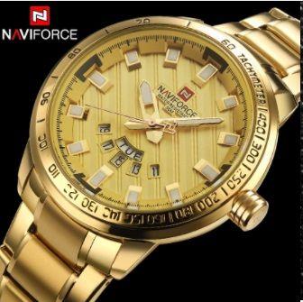 6e3e72926f4 Relógio Masculino Naviforce Original Gold 9090 dourado - Oferta Ceará