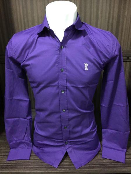 6d0d232189 Camisa Social Sergio K Slim Roxa - Outlet Ser Chic