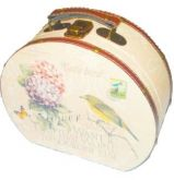 Necessaire Pequena de Madeira Caixa Decorativa Cute Bird Retrô 20cm