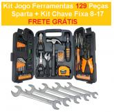 Kit Jogo Ferramentas 129 Peças Sparta + Kit Chave Fixa 8-17 + FRETE GRÁTIS