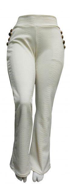 calça flare ou reta plus size(48/0), com bolsos na frente e aplique de botões, bege/offwhite