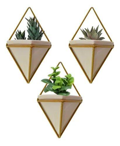 3 Vaso Dourado Cachepot E Suporte P/ Parede Planta Suculenta