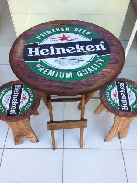 Jogo 1 Mesa 2 Bancos Rústico Bar-Artigos De Boteco-beer-