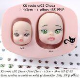 Kit  com 2 rostos Chuca/mini Chuca  + olhos resinados 485 P/PP