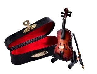 Kit Violino Completo + Arco + Suporte + Case Miniatura 10cm