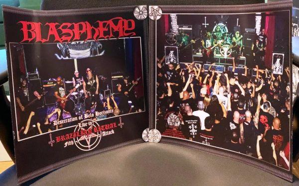 BLASPHEMY - Desecration of Belo Horizonte - Live in Brazilian Ritual Fifth Attack - LP (Red LP + Bon