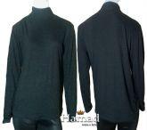 blusa preta manga longa plus gola alta (48/50) em tecido ponto roma