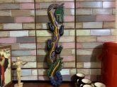 Dragão de Parede Colorido de Madeira 60cm