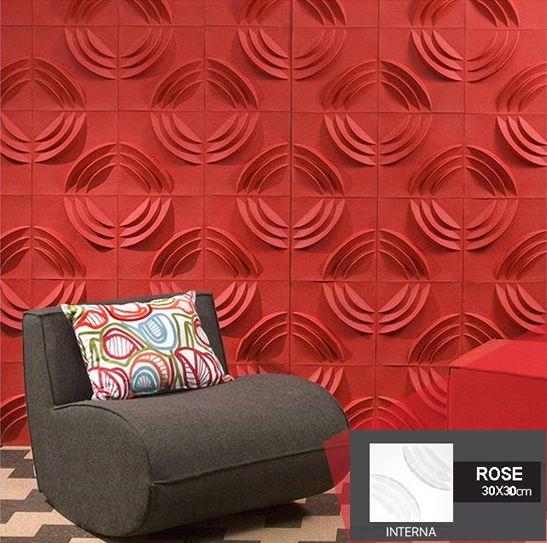 Revestimento Placas Decorativas 3D Board - Fibra de Bambu Original -  Rose