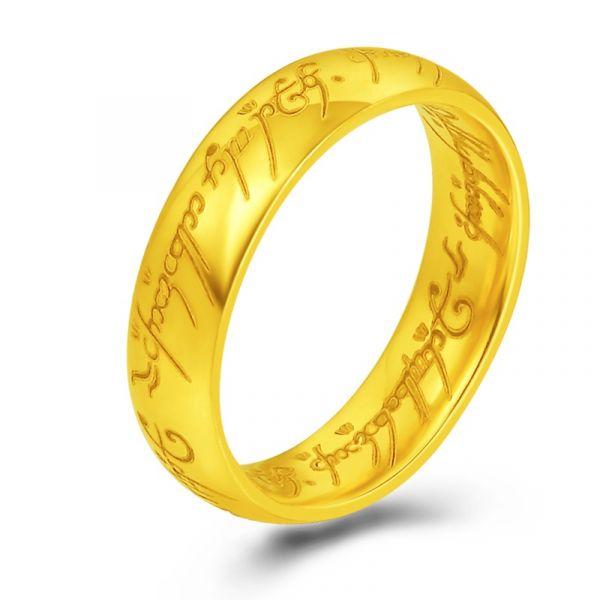 Anel  O Senhor dos Anéis  em Tungstênio Folhado a Ouro 18k Anel Talhado a laser em Élfico