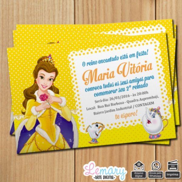 Convite Digital A Bela E A Fera Mod001 Lemary Artes Digitais