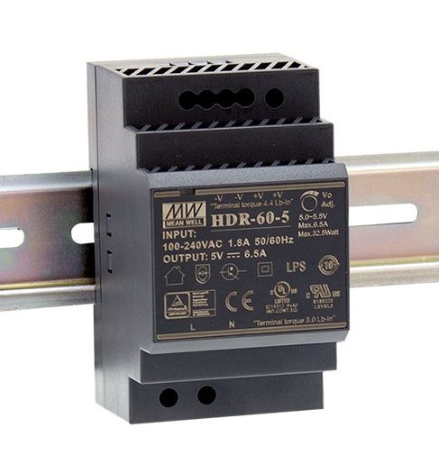 HDR-60-5 Fonte Chaveada Industrial p/ Trilho DIN 5V / 6,5A Mean Well