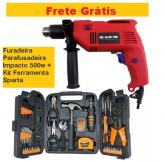 Furadeira Parafusadeira Impacto 500w + Kit Ferramenta Sparta + FRETE GRÁTIS