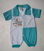 Macacão de bebê curto Barquinho - Tam. P