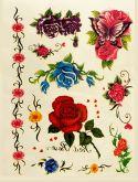 Kit +60 Tatuagens Flores E Borboletas Temporárias Tattoo N34