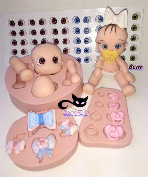 Kit Combo bebê p/ montar 1133 +laços /chupetas  olhos 410 - M