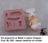 Kit Acessórios para Bebê com fralda e placa Cheguei ( BL 040 )