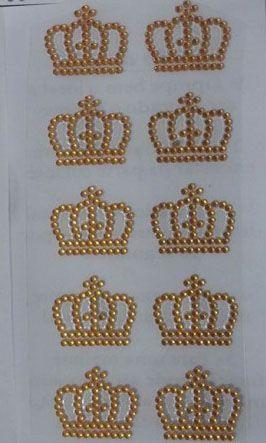 Aplique Coroa Strass Adesivo Dourada 1 Kit com 20 unidades - Loja ...