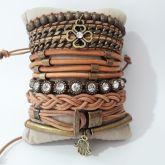 Kit de pulseiras couro caramelo ouro velho