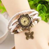 Nova Moda Feminina Vintage Borboleta Pulseira De Couro Falso Relógio De Pulso De Quartzo branco