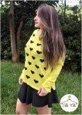 Tricot Mini Corações Amarelo