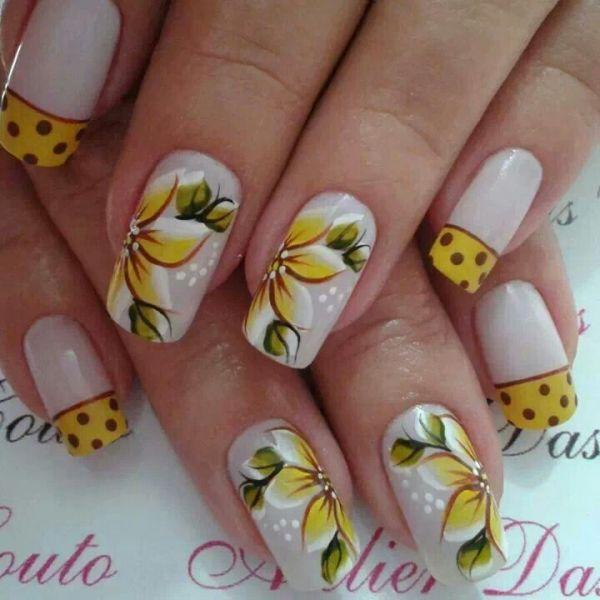 Artesanato Folclore Da Região Sudeste ~ AR07 Adesivo artesanal Flor amarela cartela com 4 adesivos Belas Unhas Películas e Adesivos