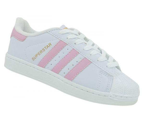 966abd38f Tênis Feminino Adidas Superstar Branco e Rosa Lançamento - Speed Shoes