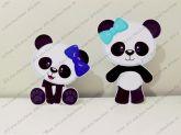 2 Displays de mesa - Panda - laço azul