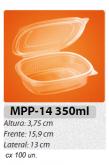 MPP-14P EMBALAGEM PP FREEZER MICROONDAS TAMPA ARTICULADA 350 ML C/ 100 UN.