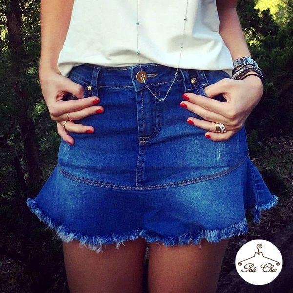 Saia Jeans [ Babado ]