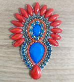 *Cabedal Cocá Vermelho pedra Azul(Par)