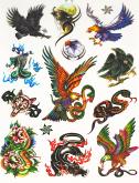 Kit 60 Tatuagens Águias e Cobras