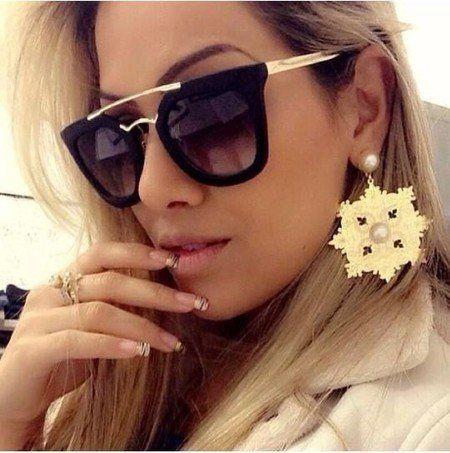 55976cb2ad915 Oculos De Sol Prada Geometric - Preto - Miami fashion