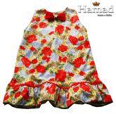 vestido infantil com laço 02 anos, malha com elasticidade, estampa floral